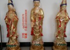 供应铜雕佛像彩绘西方三圣,贴金西方三圣