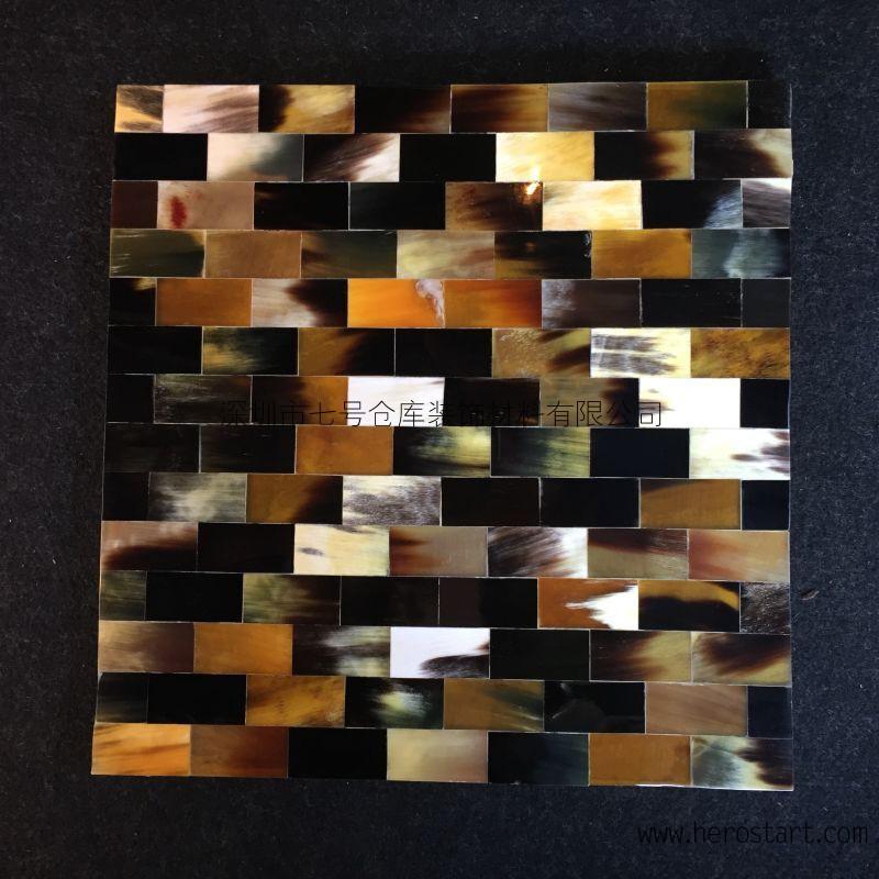 厂家生产天然牛角装饰板,牛骨密拼板,牛角马赛克,牛角灯饰家具