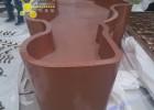 订做酒店镀钛不锈钢花盆,弯曲面造型咖啡色花盆